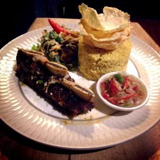 Iga bakar bumbu bali with sambal kecombrang and nasi ulam  - 's Saka Bistro & Bar (Setiabudi)|Bandung