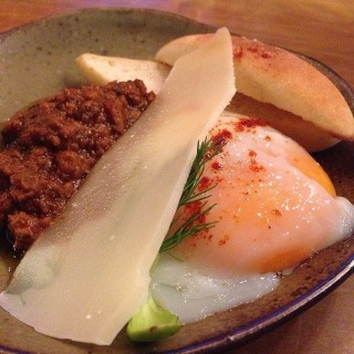 Onsen egg with sliced cheese  - Lum Phi Ni's The Beer Bridge (Lum Phi Ni)|Bangkok